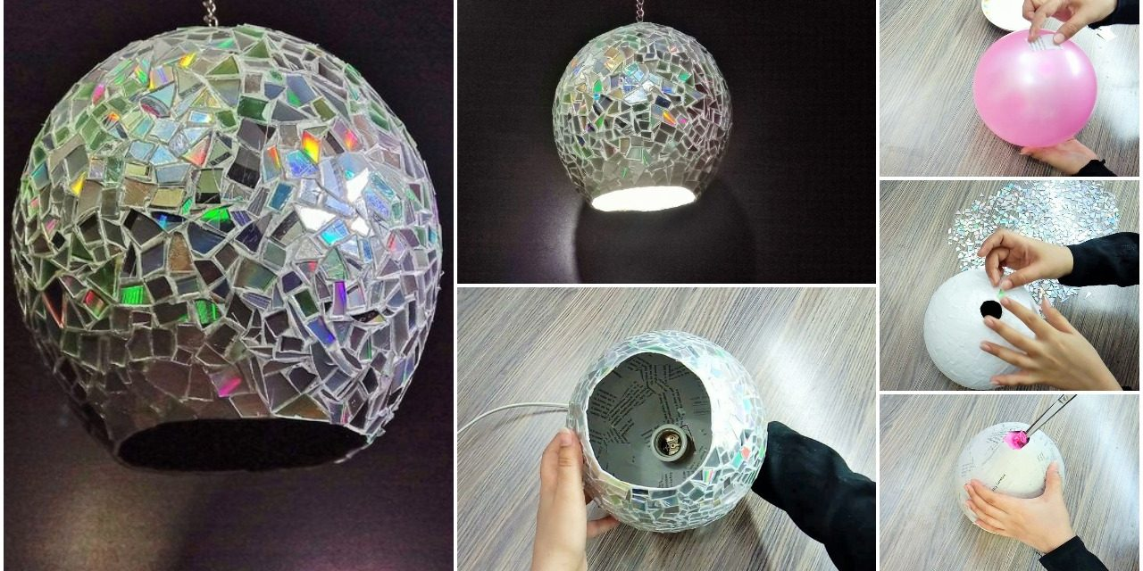 How to make a lamp with paper and CDs