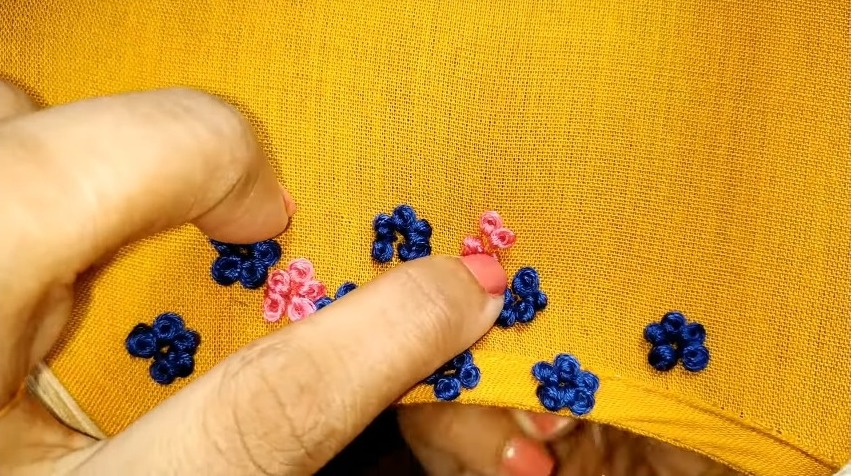 Hand embroidery neck design
