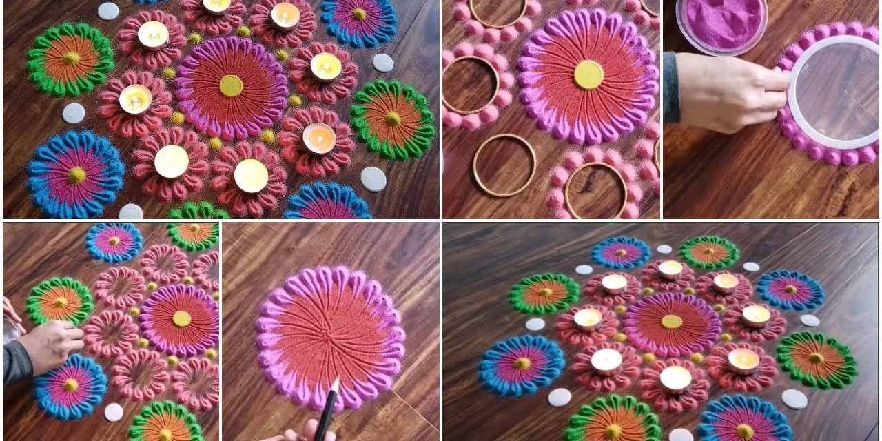 Very easy and simple colourful rangoli design