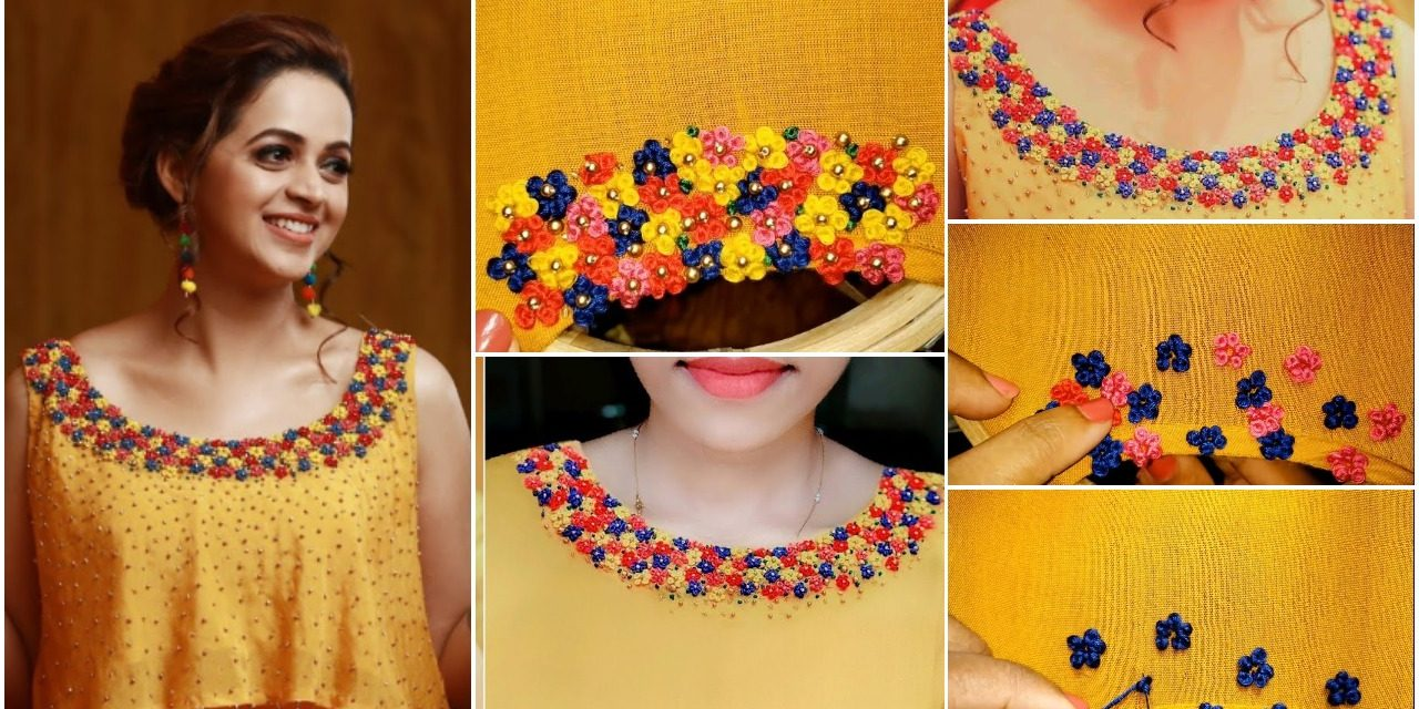 Elegant hand embroidery neck design