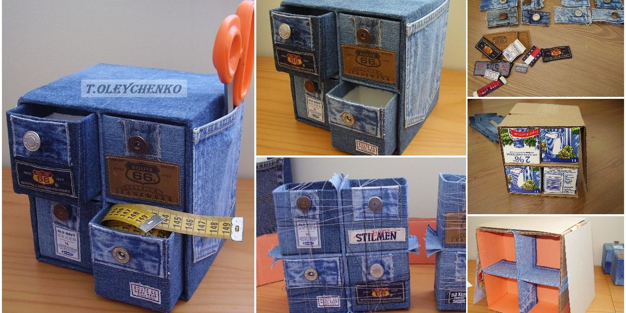 Cardboard and denim drawer