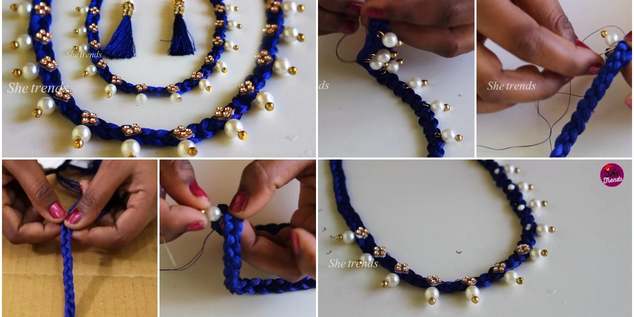 How to make pearl beaded necklace at home
