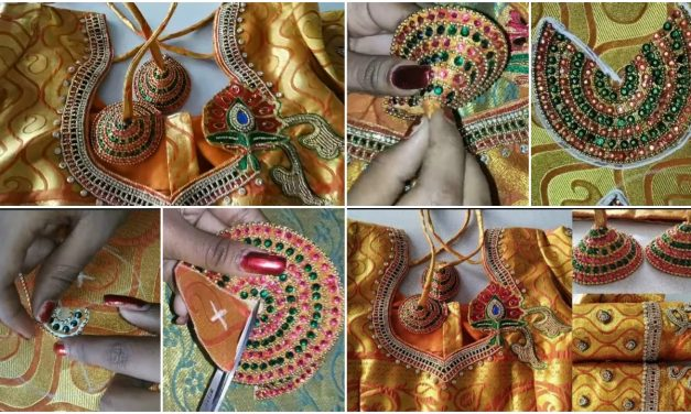 Grand and beautiful latkan design using with normal needle