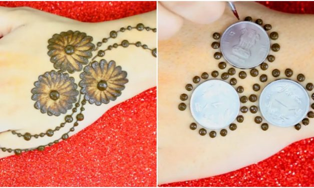 Dots mehndi design trick with earbud and coins