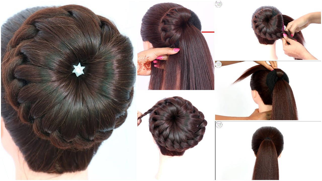 New Bun Hairstyle For Wedding And Party Simple Craft Ideas