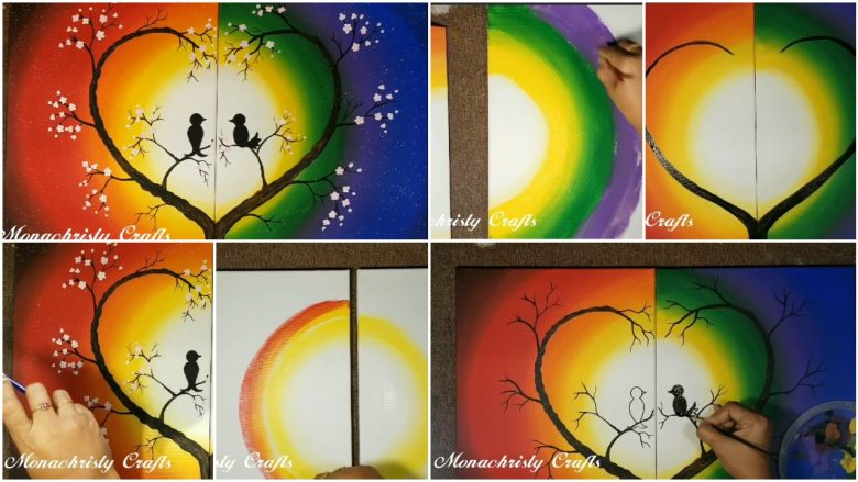 Simple 2 piece canvas painting