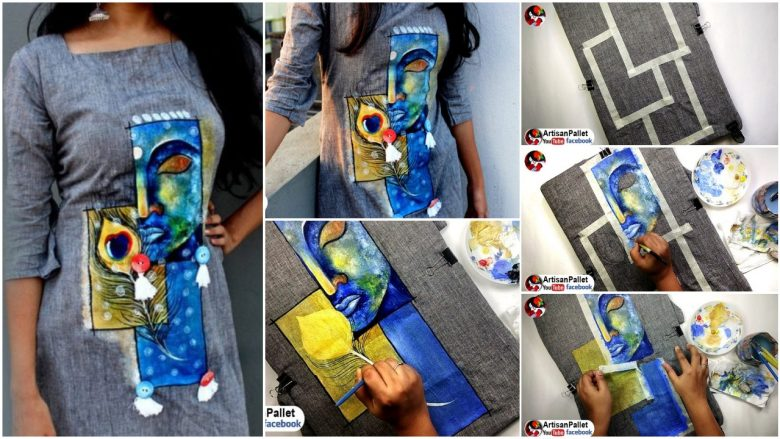 Simple fabric painting on dress