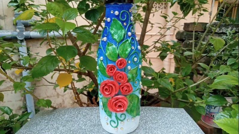 Glass bottle crafts.