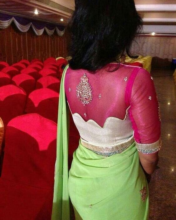 Trendy saree designer blouse