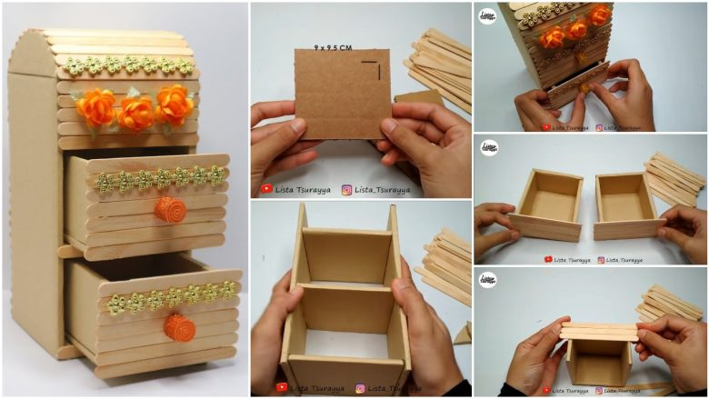 Storage box popsicle stick crafts