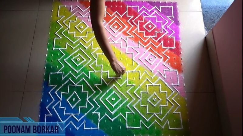 Big multicolored carpet rangoli