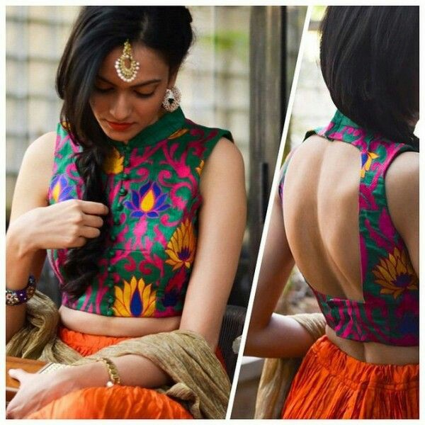 High neck open back floral printed blouse design Going sleeveless with floral printed blouses are the most practical choice for summers. For a more elegant vibe add a high neck for your sleeveless floral printed blouse.