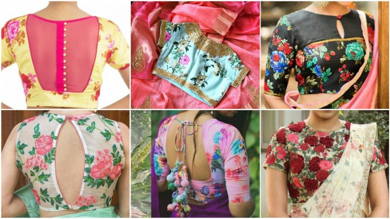 floral printed saree blouse