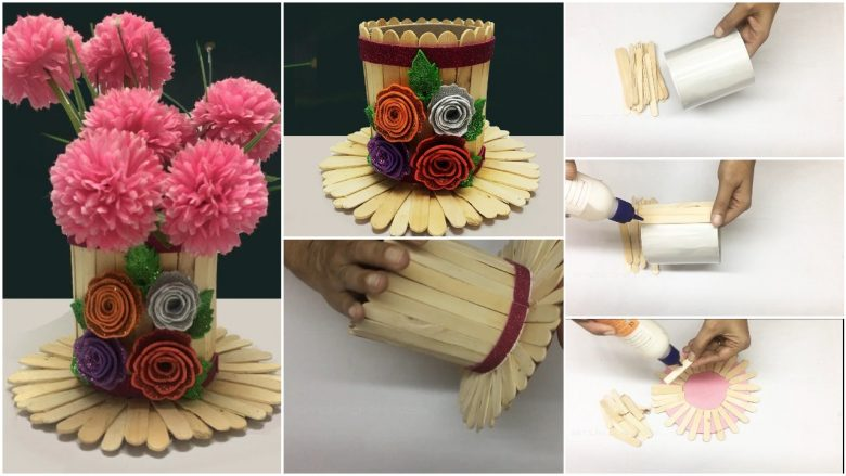 flower vase with popsicle sticks