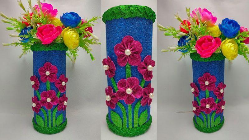 flower vase with glitter paper