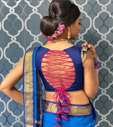 Trendy blouse back neck