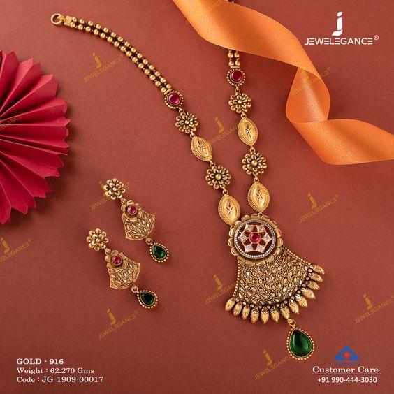 Gold long necklace design