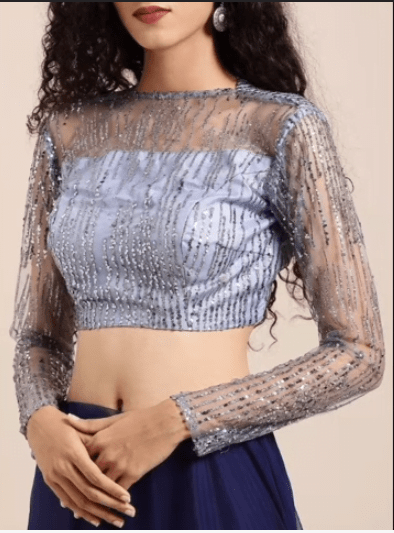 Net crop top blouse