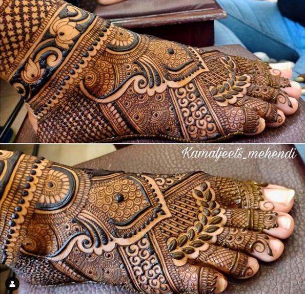 Simple feet mehndi design