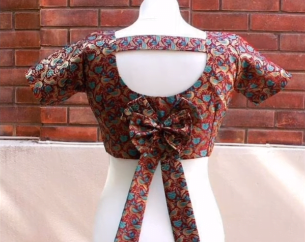 bow back neck blouse